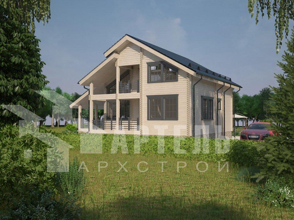 двухэтажный дом из профилированного бруса площадью от 150 до 200 кв. м. с  балконом, мансардой, террасой, проект Вариант 8.6 К фотография 4345