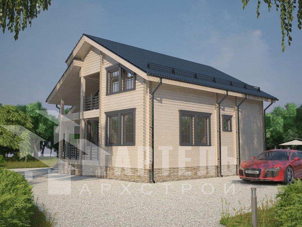 двухэтажный дом из профилированного бруса площадью от 150 до 200 кв. м. с  балконом, мансардой, террасой, проект Вариант 8.6 К фотография 4346