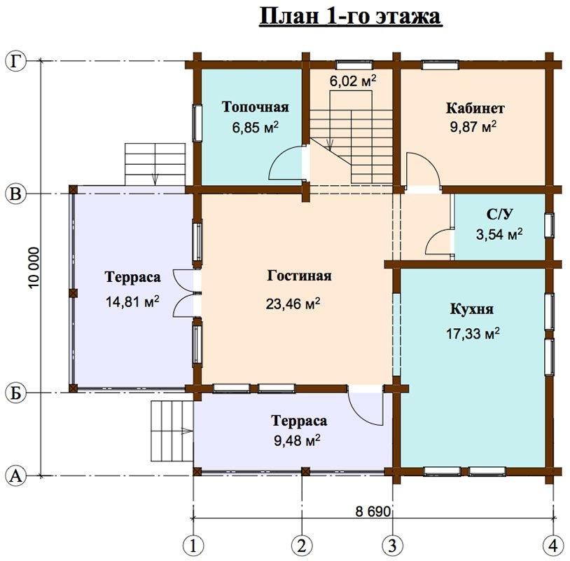 двухэтажный дом из профилированного бруса площадью от 150 до 200 кв. м. с  балконом, мансардой, террасой, проект Вариант 8.6 К фотография 4471