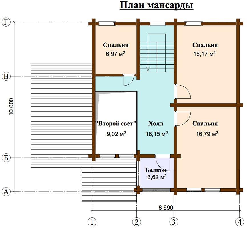 двухэтажный дом из профилированного бруса площадью от 150 до 200 кв. м. с  балконом, мансардой, террасой, проект Вариант 8.6 К фотография 4472