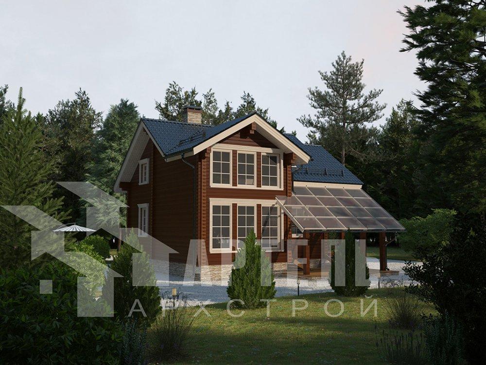 двухэтажный проект площадью от 100 до 150 кв. м. с  мансардой, террасой, проект Вариант 8.7 А фотография 4326