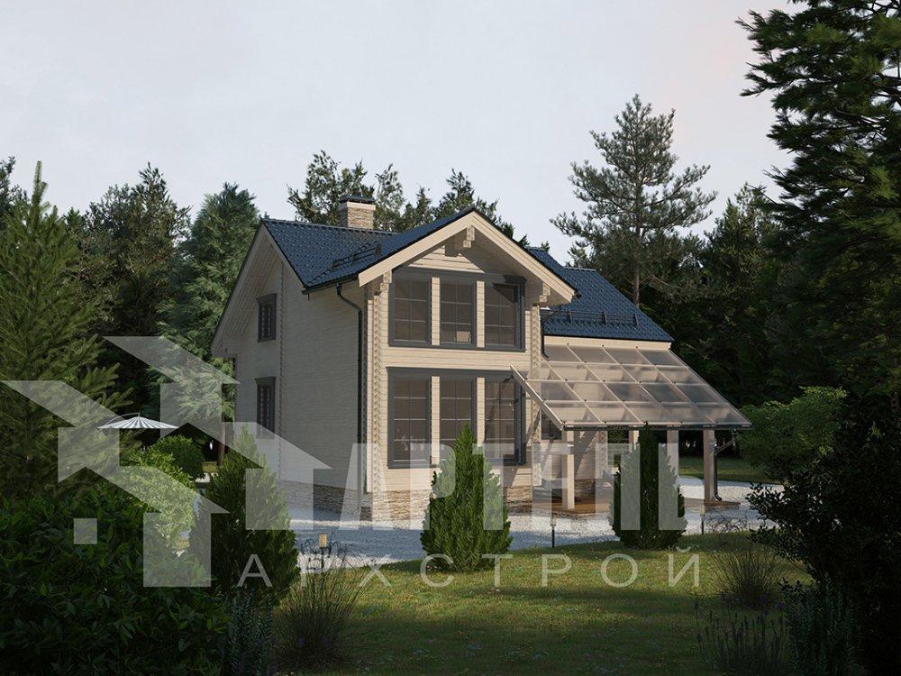 двухэтажный проект площадью от 100 до 150 кв. м. с  мансардой, террасой, проект Вариант 8.7 А фотография 4332