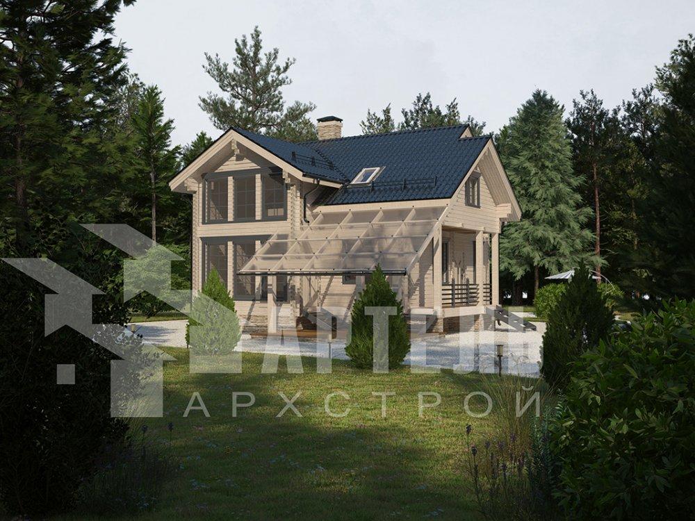 двухэтажный проект площадью от 100 до 150 кв. м. с  мансардой, террасой, проект Вариант 8.7 А фотография 4333