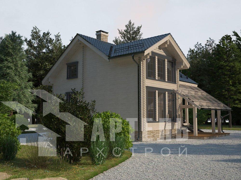 двухэтажный проект площадью от 100 до 150 кв. м. с  мансардой, террасой, проект Вариант 8.7 А фотография 4337