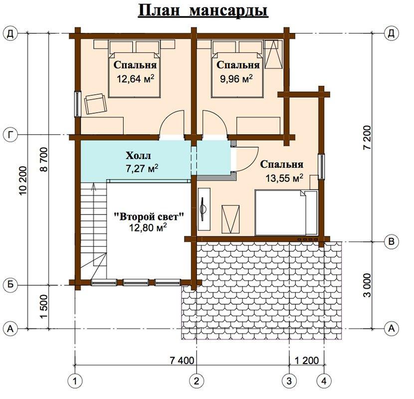 двухэтажный проект площадью от 100 до 150 кв. м. с  мансардой, террасой, проект Вариант 8.7 А фотография 4475