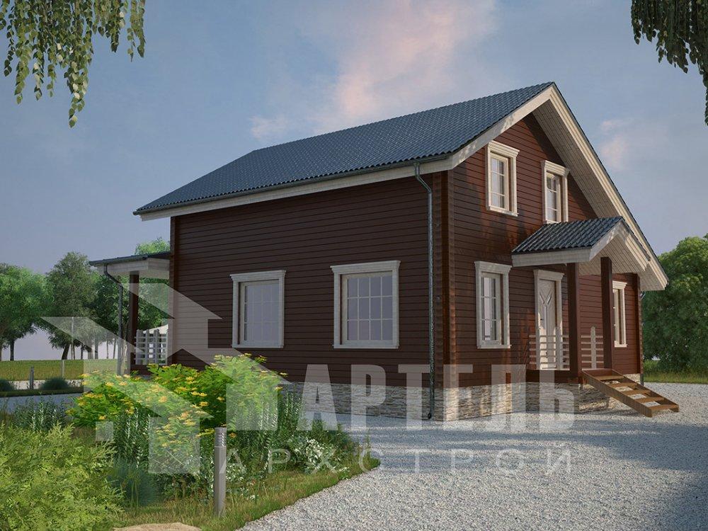 двухэтажный дом из профилированного бруса площадью от 100 до 150 кв. м. с  мансардой, террасой, проект Вариант 8.8 Б фотография 4519