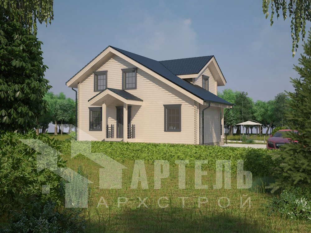 двухэтажный дом из профилированного бруса площадью от 100 до 150 кв. м. с  мансардой, террасой, проект Вариант 8.8 Б фотография 4528