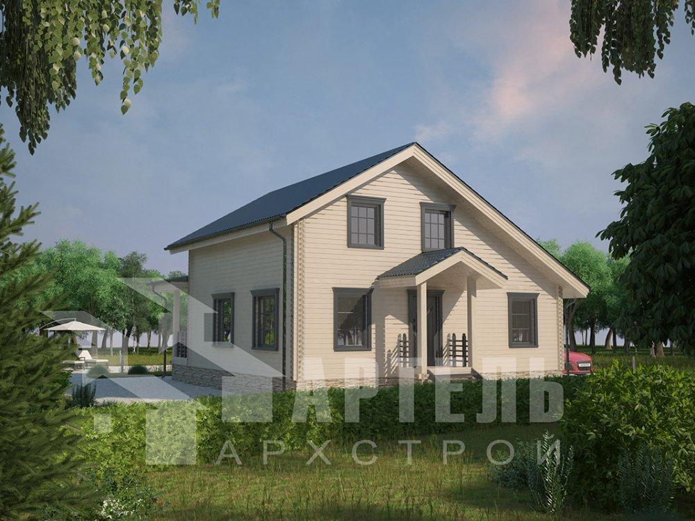 двухэтажный дом из профилированного бруса площадью от 100 до 150 кв. м. с  мансардой, террасой, проект Вариант 8.8 Б фотография 4529