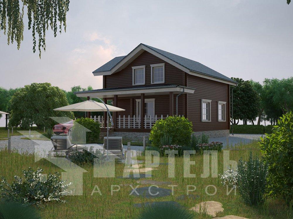 двухэтажный дом из профилированного бруса площадью от 100 до 150 кв. м. с  мансардой, террасой, проект Вариант 8.8 Б фотография 4520