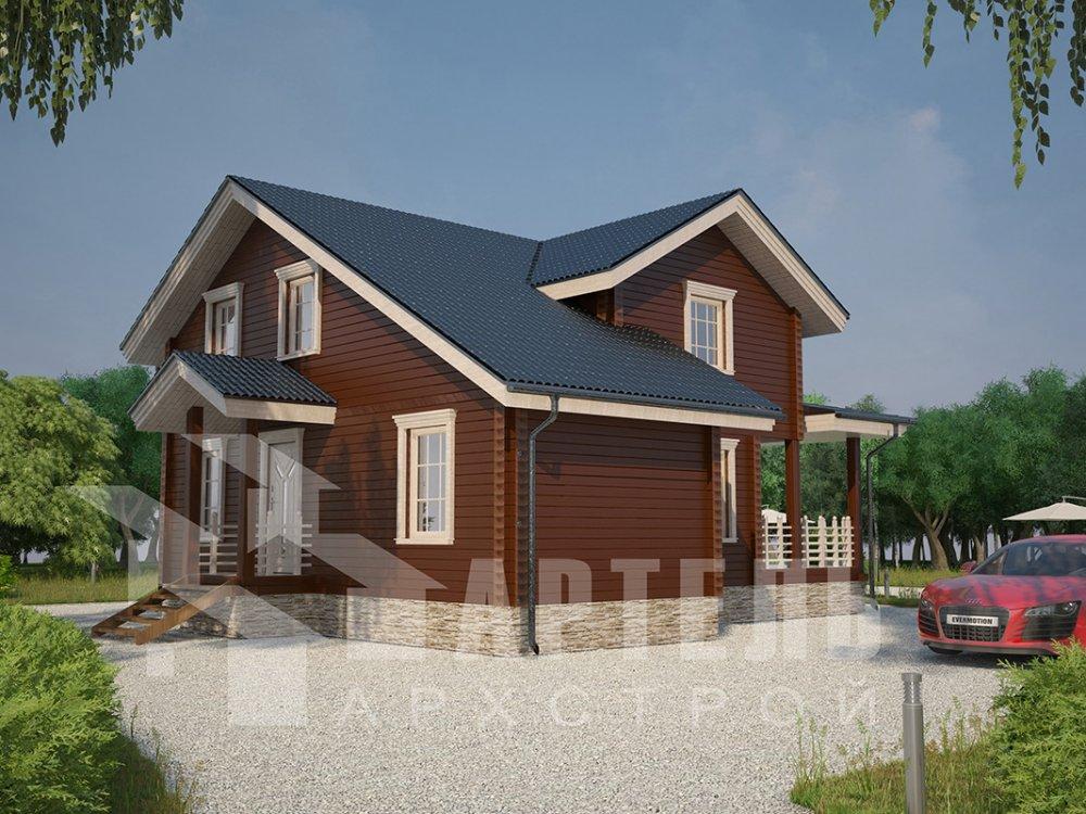 двухэтажный дом из профилированного бруса площадью от 100 до 150 кв. м. с  мансардой, террасой, проект Вариант 8.8 Б фотография 4522