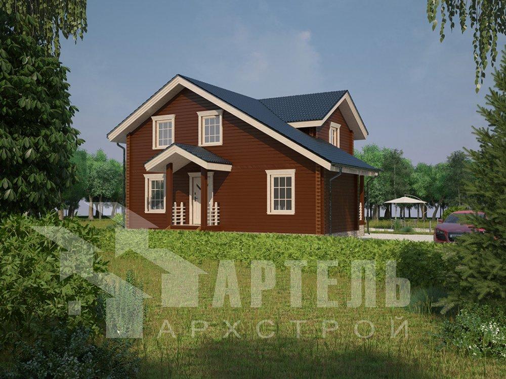 двухэтажный дом из профилированного бруса площадью от 100 до 150 кв. м. с  мансардой, террасой, проект Вариант 8.8 Б фотография 4523