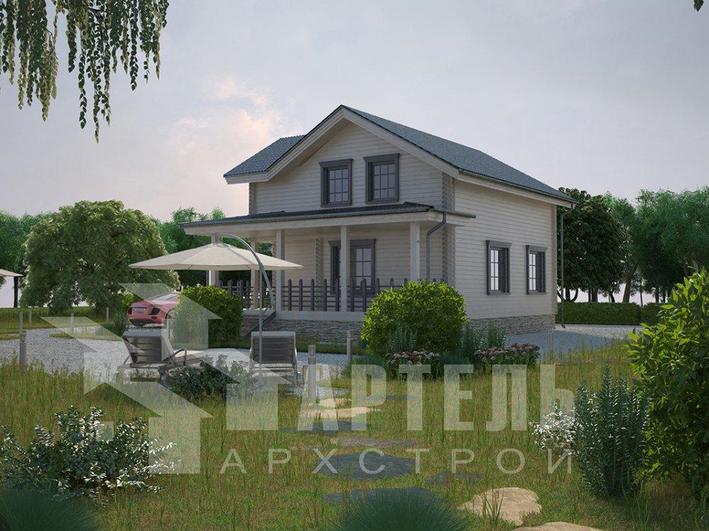 двухэтажный дом из профилированного бруса площадью от 100 до 150 кв. м. с  мансардой, террасой, проект Вариант 8.8 Б фотография 4526