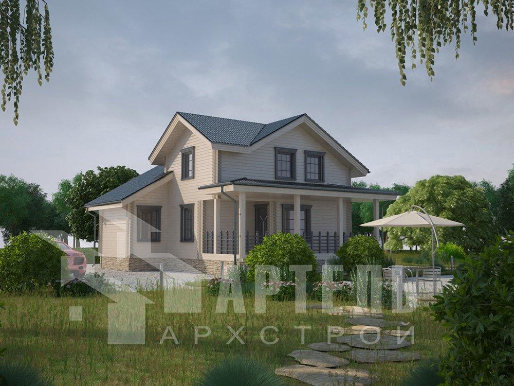 двухэтажный дом из профилированного бруса площадью от 100 до 150 кв. м. с  мансардой, террасой, проект Вариант 8.8 Б фотография 4530