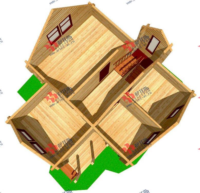 двухэтажный дом из профилированного бруса площадью от 100 до 150 кв. м. с  мансардой, эркером, проект Вариант 9 А фотография 236