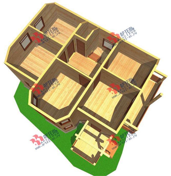 двухэтажный дом из бруса площадью от 100 до 150 кв. м. с  балконом, мансардой, эркером, проект Вариант 6.2 К фотография 762