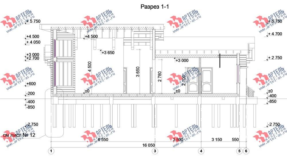 одноэтажный дом из профилированного бруса камерной сушки площадью от 150 до 200 кв. м. с  террасой, эркером, проект Вариант 5 фотография 2674