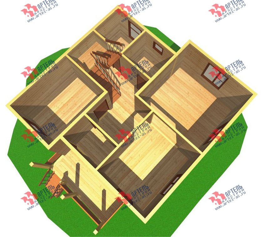 двухэтажный дом из бруса площадью от 100 до 150 кв. м. с  мансардой, эркером, проект Вариант 8.2 А фотография 2174