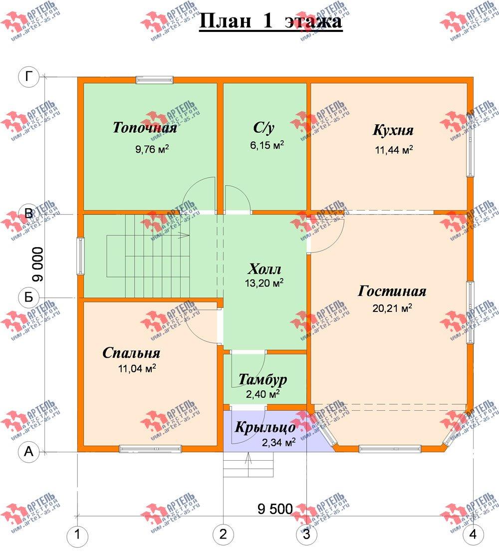 двухэтажный дом из бруса площадью от 100 до 150 кв. м. с  мансардой, эркером, проект Вариант 9 Г фотография 2205