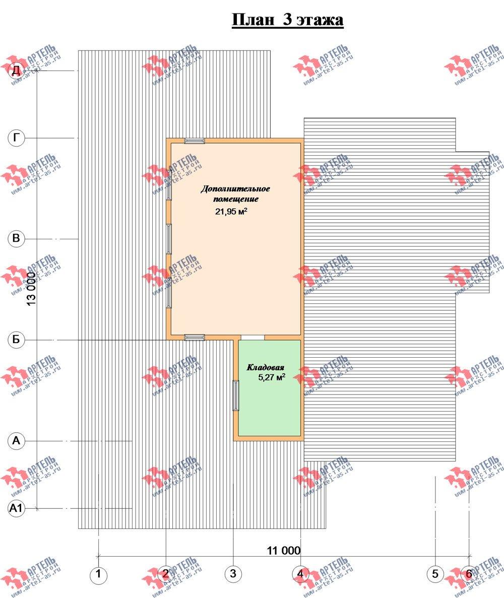 двухэтажный дом из бруса площадью от 150 до 200 кв. м. с  мансардой, террасой, проект Вариант 13 В фотография 2230