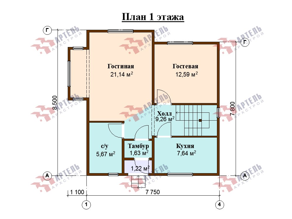 двухэтажный дом из профилированного бруса площадью от 100 до 150 кв. м. с  мансардой, эркером, проект Вариант 8.5 Б фотография 5910