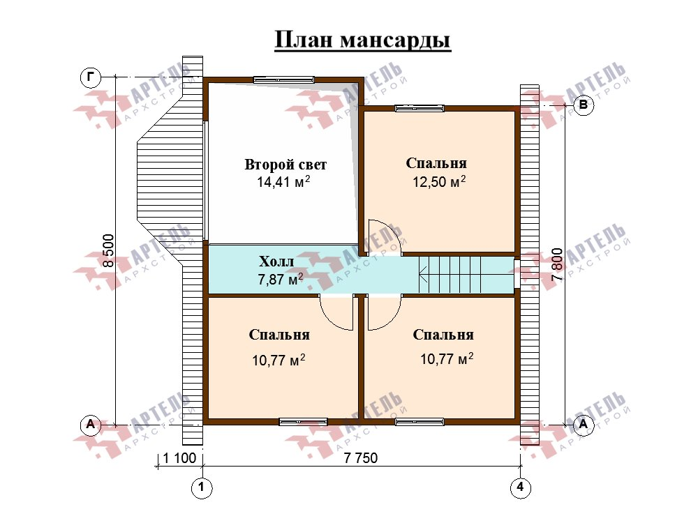 двухэтажный дом из профилированного бруса площадью от 100 до 150 кв. м. с  мансардой, эркером, проект Вариант 8.5 Б фотография 5911