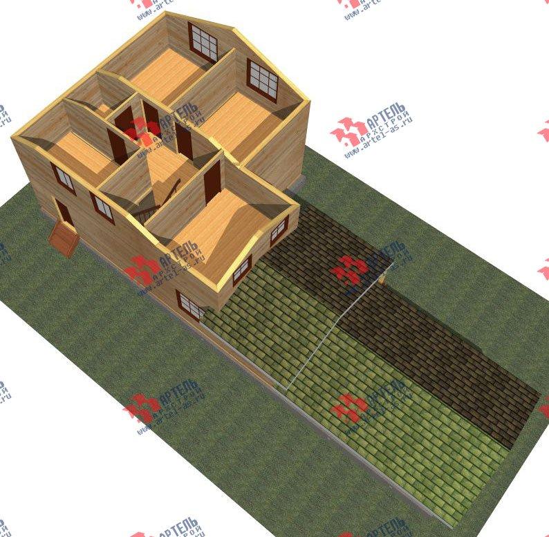 двухэтажный дом из бруса площадью от 150 до 200 кв. м. с  гаражом, мансардой, проект Вариант 8.6 Б фотография 2436