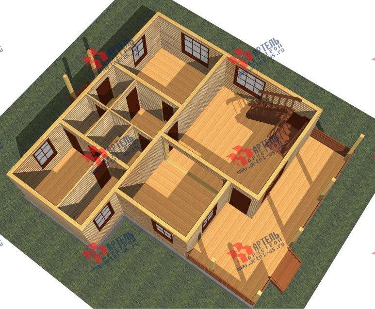 двухэтажный дом из профилированного бруса площадью от 100 до 150 кв. м. с  мансардой, террасой, проект Вариант 8.8 Б фотография 2450