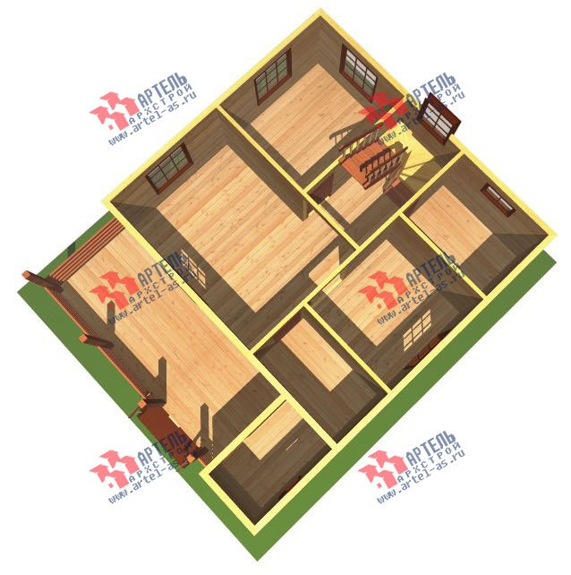 двухэтажный дом из профилированного бруса площадью от 100 до 150 кв. м. с  террасой, проект Вариант 7.2 А фотография 2661