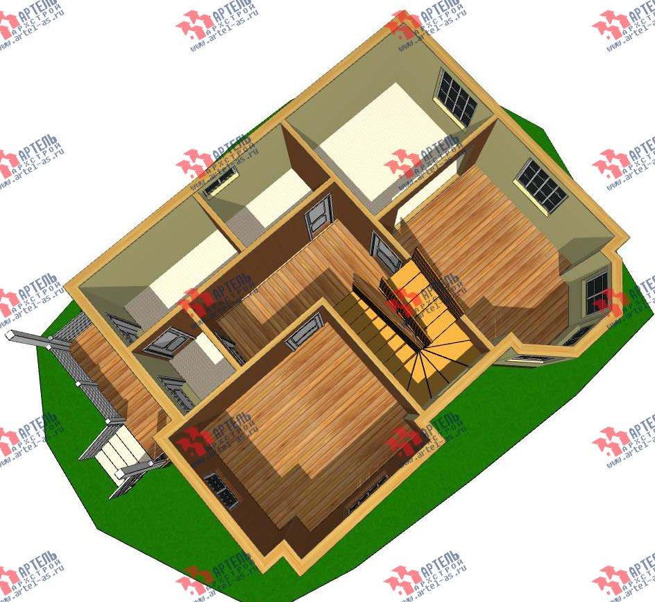 двухэтажный дом из профилированного бруса камерной сушки площадью от 100 до 150 кв. м. с  мансардой, эркером, проект Вариант 7 фотография 2798