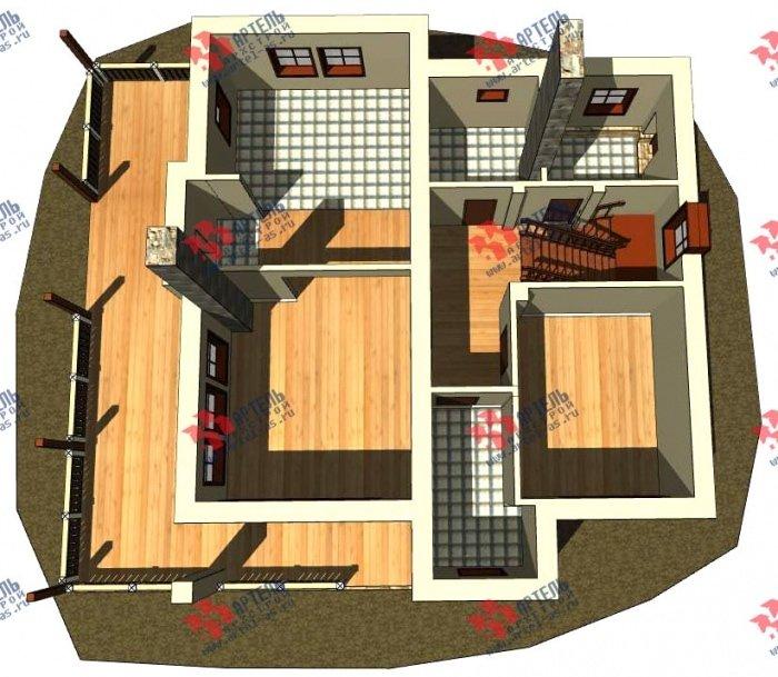 двухэтажный дом из профилированного бруса площадью от 150 до 200 кв. м. с  балконом, террасой, эркером, проект Вариант 10.8 А фотография 4780