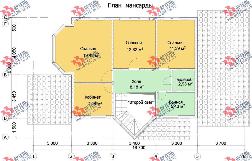 двухэтажный дом из профилированного бруса камерной сушки площадью от 150 до 200 кв. м. с  мансардой, террасой, эркером, проект Вариант 10 фотография 3010