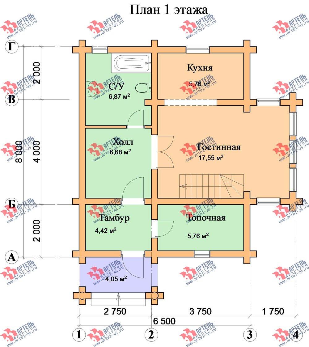 двухэтажный дом из оцилиндрованного бревна площадью от 100 до 150 кв. м. с  эркером, проект Вариант 1 фотография 3030