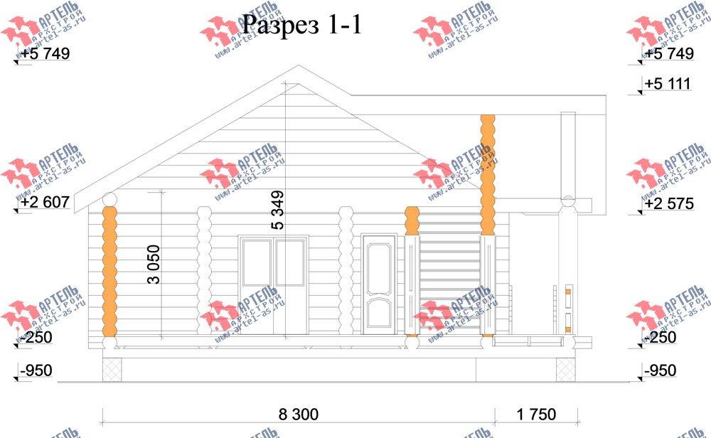 одноэтажный дом из оцилиндрованного бревна площадью до 100 кв. м. с  террасой, проект Вариант 2 фотография 3042