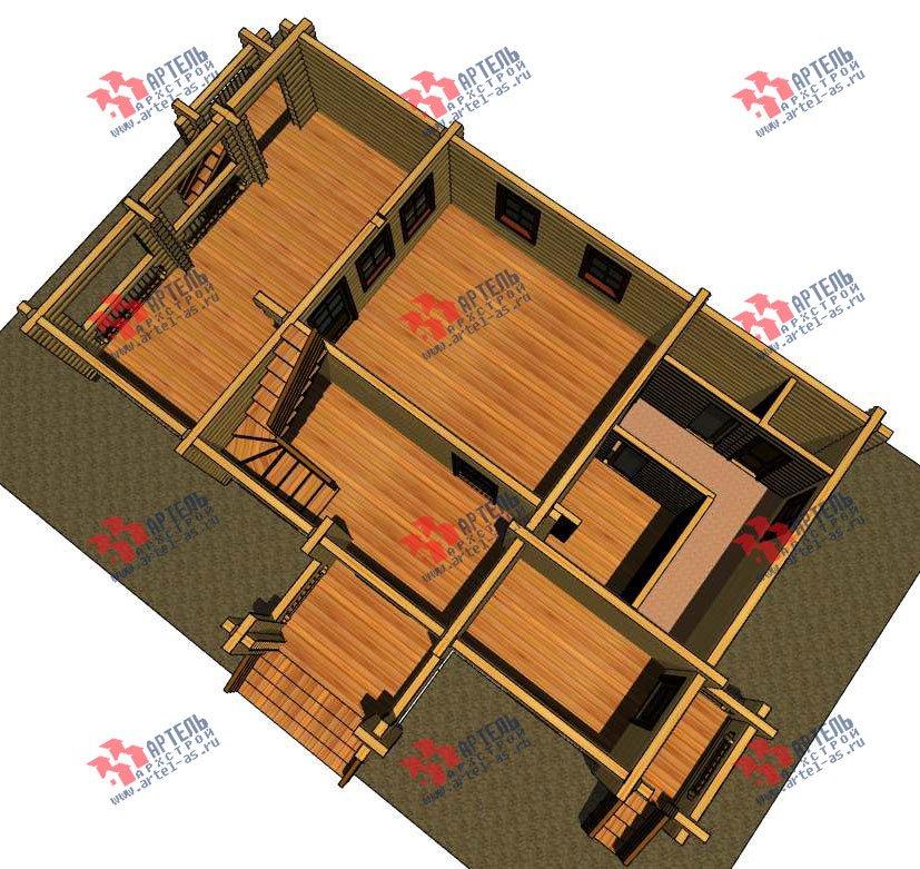 двухэтажный дом из оцилиндрованного бревна площадью свыше 200 кв. м. с  балконом, террасой, проект Вариант 3 фотография 3045