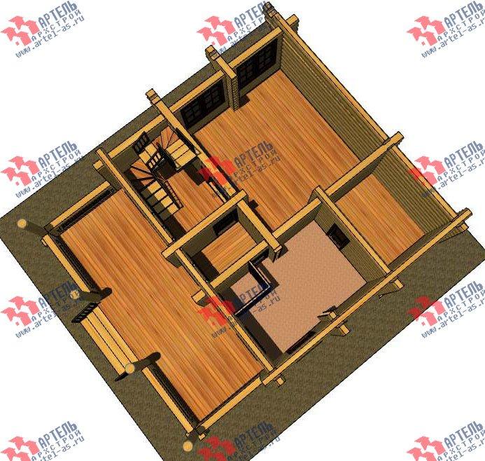 двухэтажный дом из оцилиндрованного бревна площадью от 100 до 150 кв. м. с  террасой, проект Вариант 4 фотография 3056