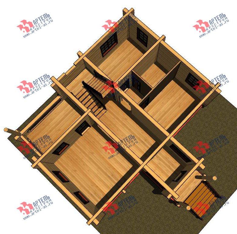 двухэтажный дом из оцилиндрованного бревна площадью от 100 до 150 кв. м. с  террасой, проект Вариант 6 фотография 3091