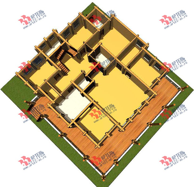 двухэтажный дом из оцилиндрованного бревна площадью свыше 200 кв. м. с  террасой, проект Вариант 8 фотография 3114