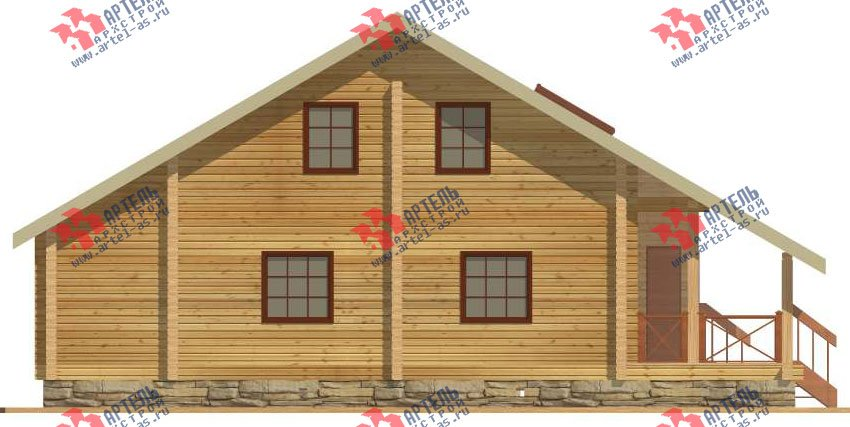 двухэтажный дом из профилированного бруса площадью от 150 до 200 кв. м. с  мансардой, террасой, проект Вариант 8.3 А фотография 3230