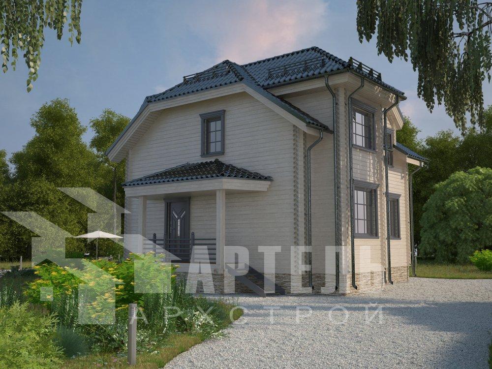 двухэтажный дом из профилированного бруса площадью от 100 до 150 кв. м. с  мансардой, эркером, проект Вариант 8 Т фотография 5942