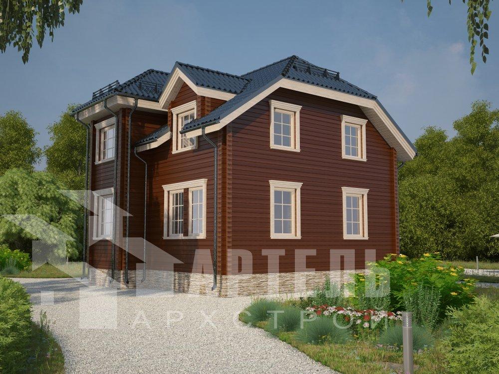 двухэтажный дом из профилированного бруса площадью от 100 до 150 кв. м. с  мансардой, эркером, проект Вариант 8 Т фотография 5948