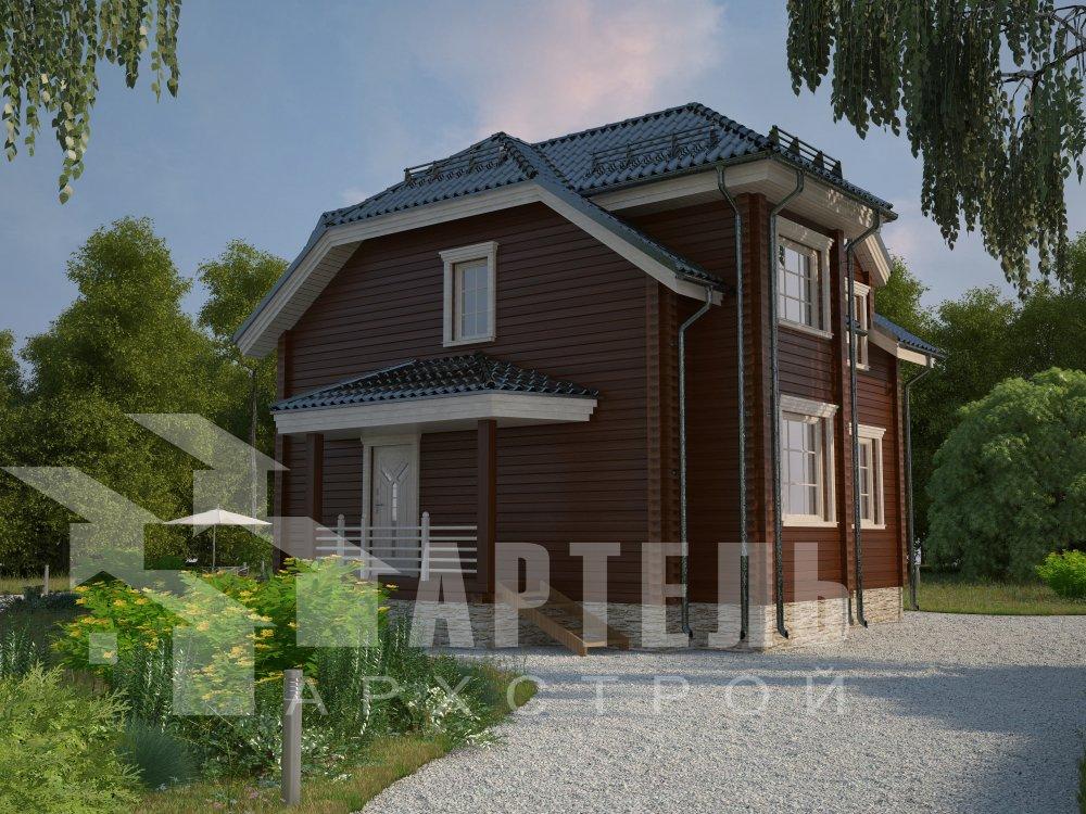 двухэтажный дом из профилированного бруса площадью от 100 до 150 кв. м. с  мансардой, эркером, проект Вариант 8 Т фотография 5950