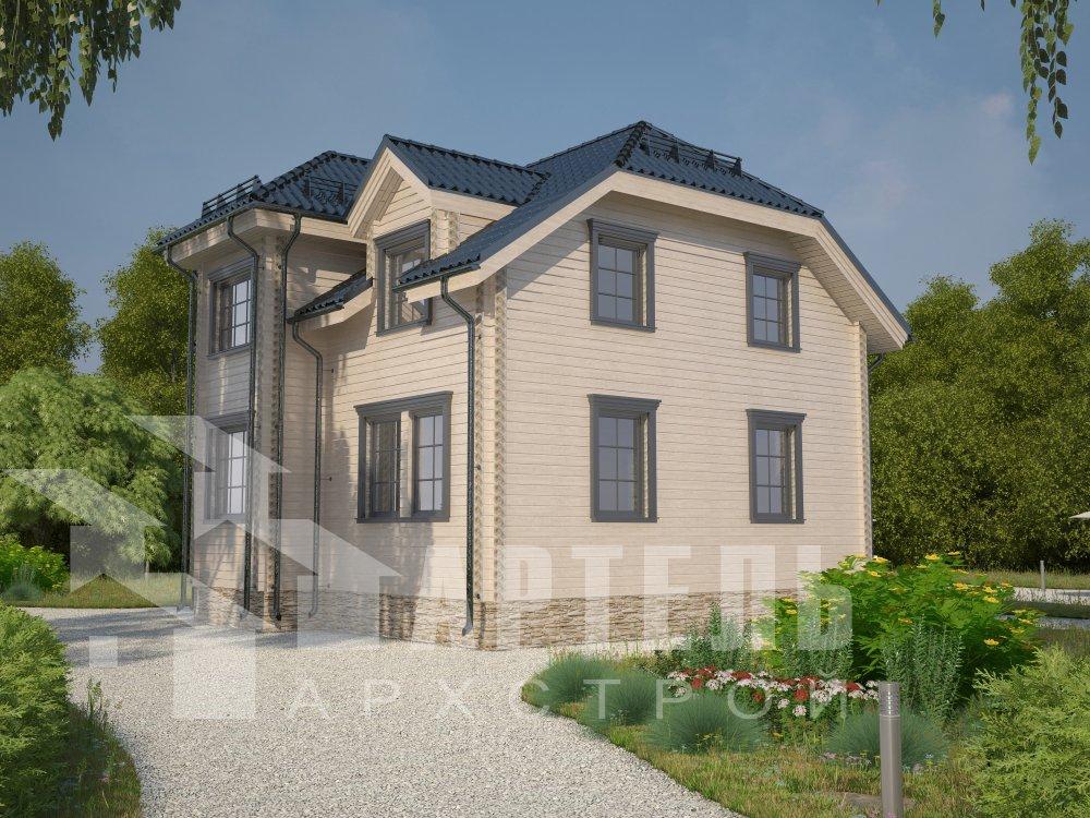 двухэтажный дом из профилированного бруса площадью от 100 до 150 кв. м. с  мансардой, эркером, проект Вариант 8 Т фотография 5975