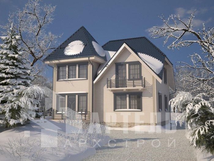двухэтажный дом из профилированного бруса площадью от 150 до 200 кв. м. с  балконом, мансардой, проект Вариант 9 К фотография 4756