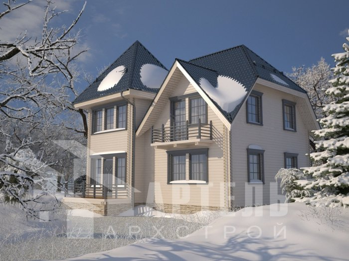 двухэтажный дом из профилированного бруса площадью от 150 до 200 кв. м. с  балконом, мансардой, проект Вариант 9 К фотография 4757