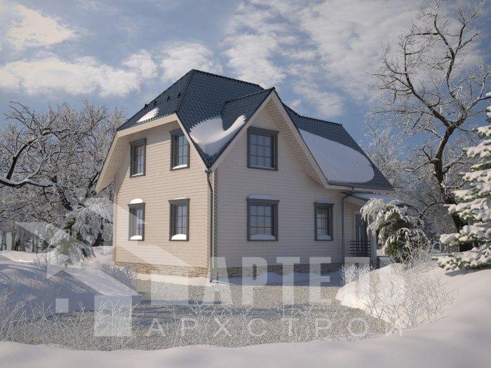 двухэтажный дом из профилированного бруса площадью от 150 до 200 кв. м. с  балконом, мансардой, проект Вариант 9 К фотография 4758