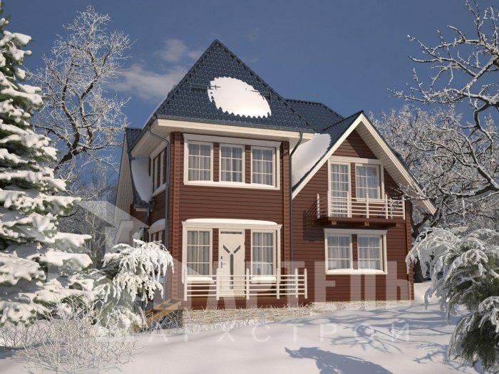 двухэтажный дом из профилированного бруса площадью от 150 до 200 кв. м. с  балконом, мансардой, проект Вариант 9 К фотография 4761
