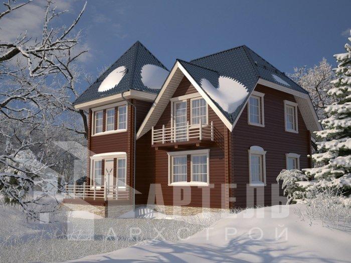 двухэтажный дом из профилированного бруса площадью от 150 до 200 кв. м. с  балконом, мансардой, проект Вариант 9 К фотография 4763