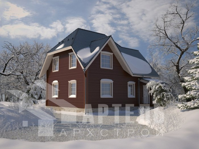 двухэтажный дом из профилированного бруса площадью от 150 до 200 кв. м. с  балконом, мансардой, проект Вариант 9 К фотография 4764