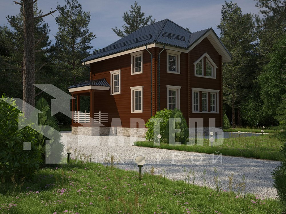 двухэтажный дом из профилированного бруса площадью от 100 до 150 кв. м. с  мансардой, террасой, эркером, проект Вариант 9.3 А фотография 4302