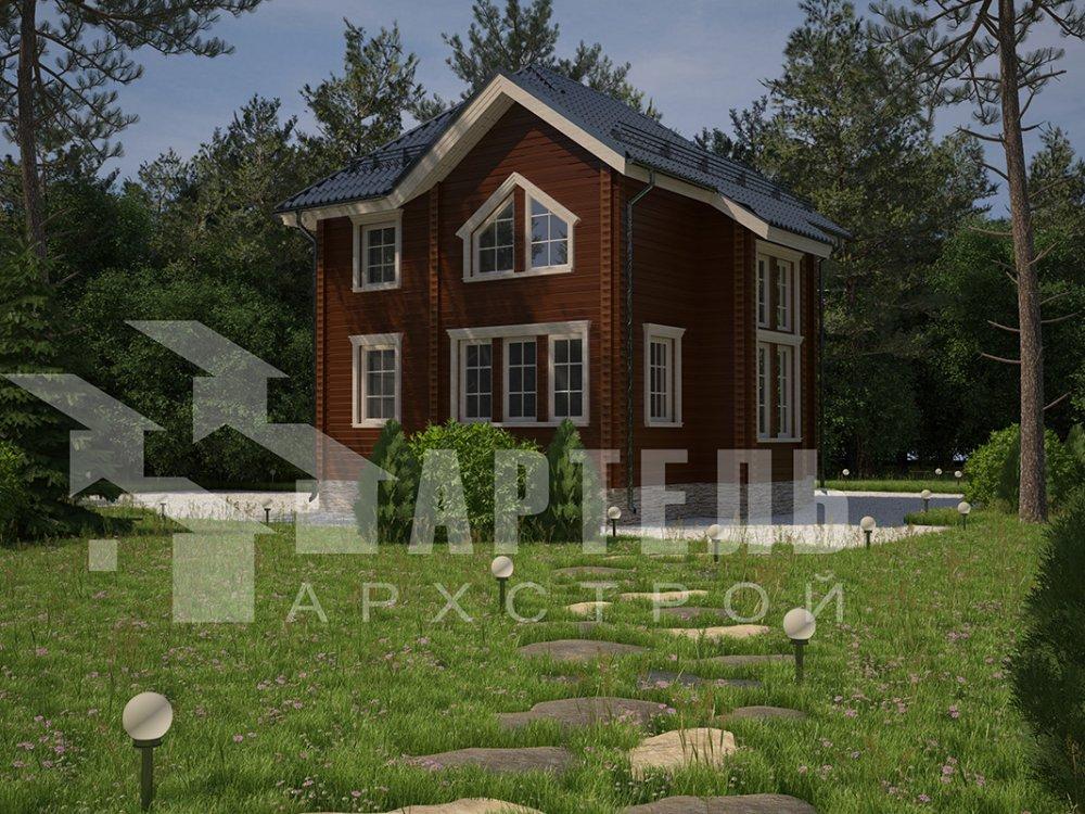 двухэтажный дом из профилированного бруса площадью от 100 до 150 кв. м. с  мансардой, террасой, эркером, проект Вариант 9.3 А фотография 4292